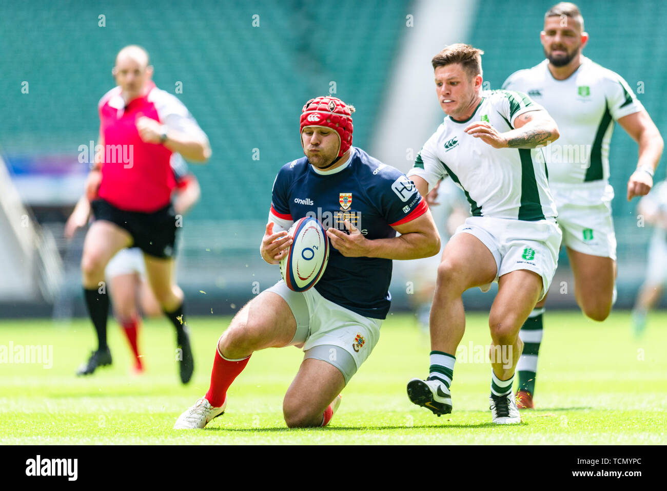 London, UK. 08th, Jun 2019. Peter Weightman of Cumbria is tackled during Bill Beaumont County Championship Division 3 Final match betwee Cumbria vs Dorset & Wilts at Twickenham Stadium on Saturday, 08 June 2019. LONDON England .  (Editorial use only, license required for commercial use. No use in betting, games or a single club/league/player publications.) Credit: Taka G Wu/Alamy Live News Stock Photo