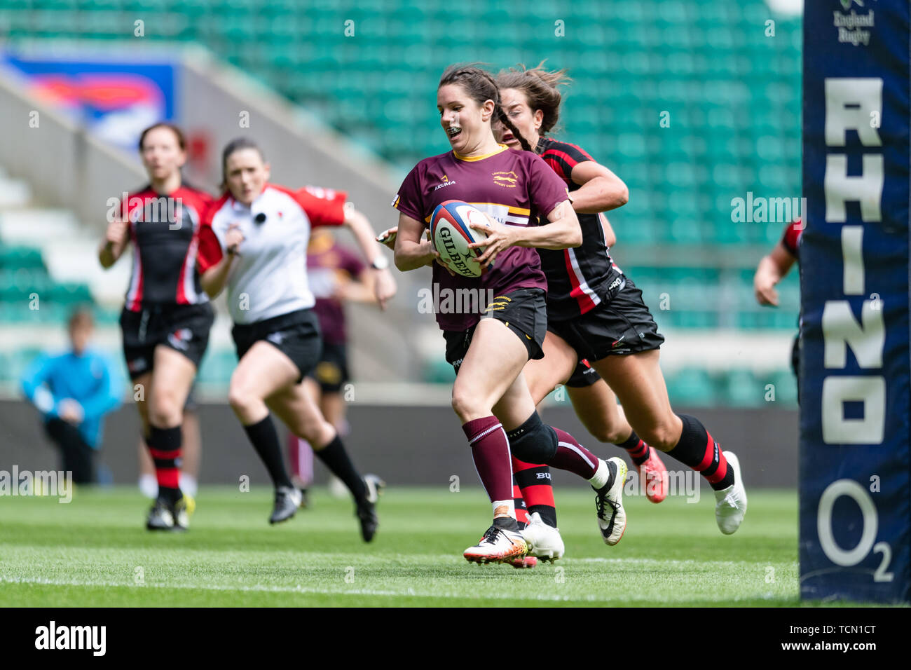 London, UK. 08th, Jun 2019. Mireia Garcia Santiago of Leicestershire Ladies in action  during Gill Burns County Championship Division 2 Final: Leicestershire v Buckinghamshire at Twickenham Stadium on Saturday, 08 June 2019. LONDON England .  (Editorial use only, license required for commercial use. No use in betting, games or a single club/league/player publications.) Credit: Taka G Wu/Alamy Live News Stock Photo