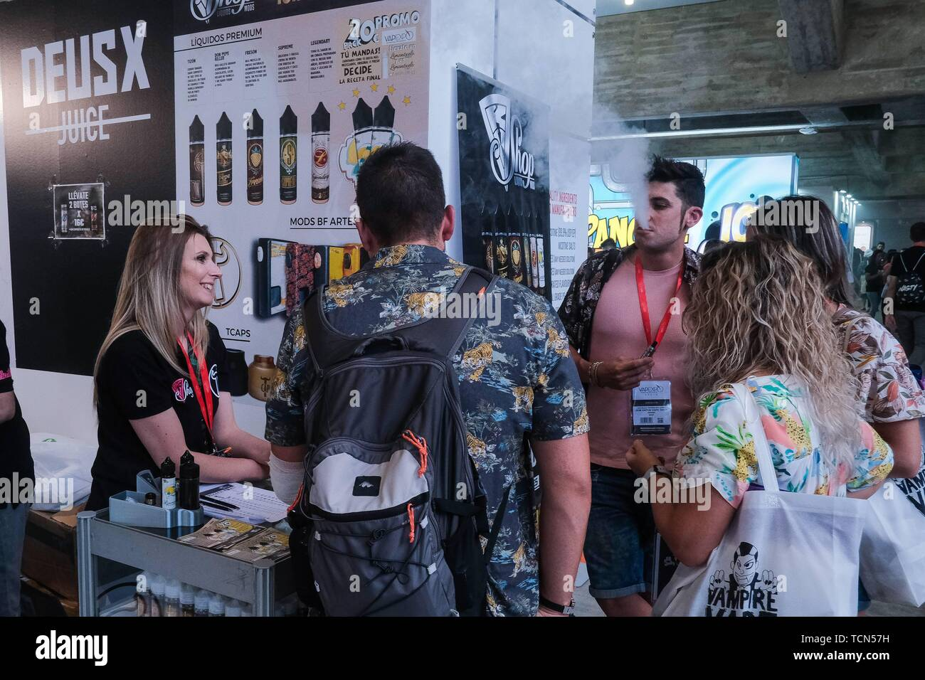Madrid, Spain. 09th June, 2019. International vaping fair, electronic cigarette in which we have seen the best brands, resistances, mechanical mods, Personal Advanced Vaporizer, liquids with a thousand flavors, atomizers and much, much smoke. Madrid Spain. Credit: CORDON PRESS/Alamy Live News - Stock Image
