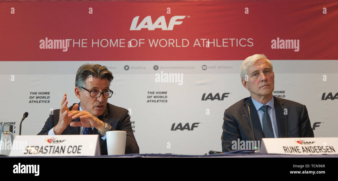 Monaco, Monte Carlo - June 09, 2019: The 217th IAAF Council Meeting chaired by President Sebastian Coe and Rune Andersen, the independent chairman of the IAAF Taskforce. International Association of Athletics Federations. Athletic - Stock Image