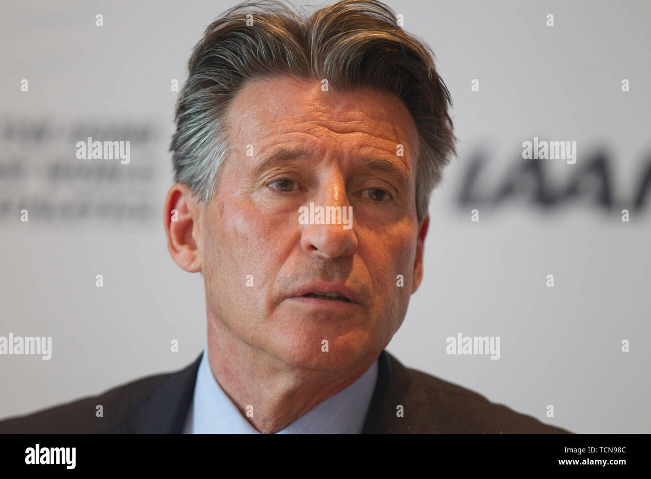 Athletics Federations. 09th June, 2019. Monaco, Monte Carlo - June 09, 2019: The 217th IAAF Council Meeting chaired by IAAF President Sebastian Coe. International Association of Athletics Federations. Athletic Credit: dpa/Alamy Live News - Stock Image