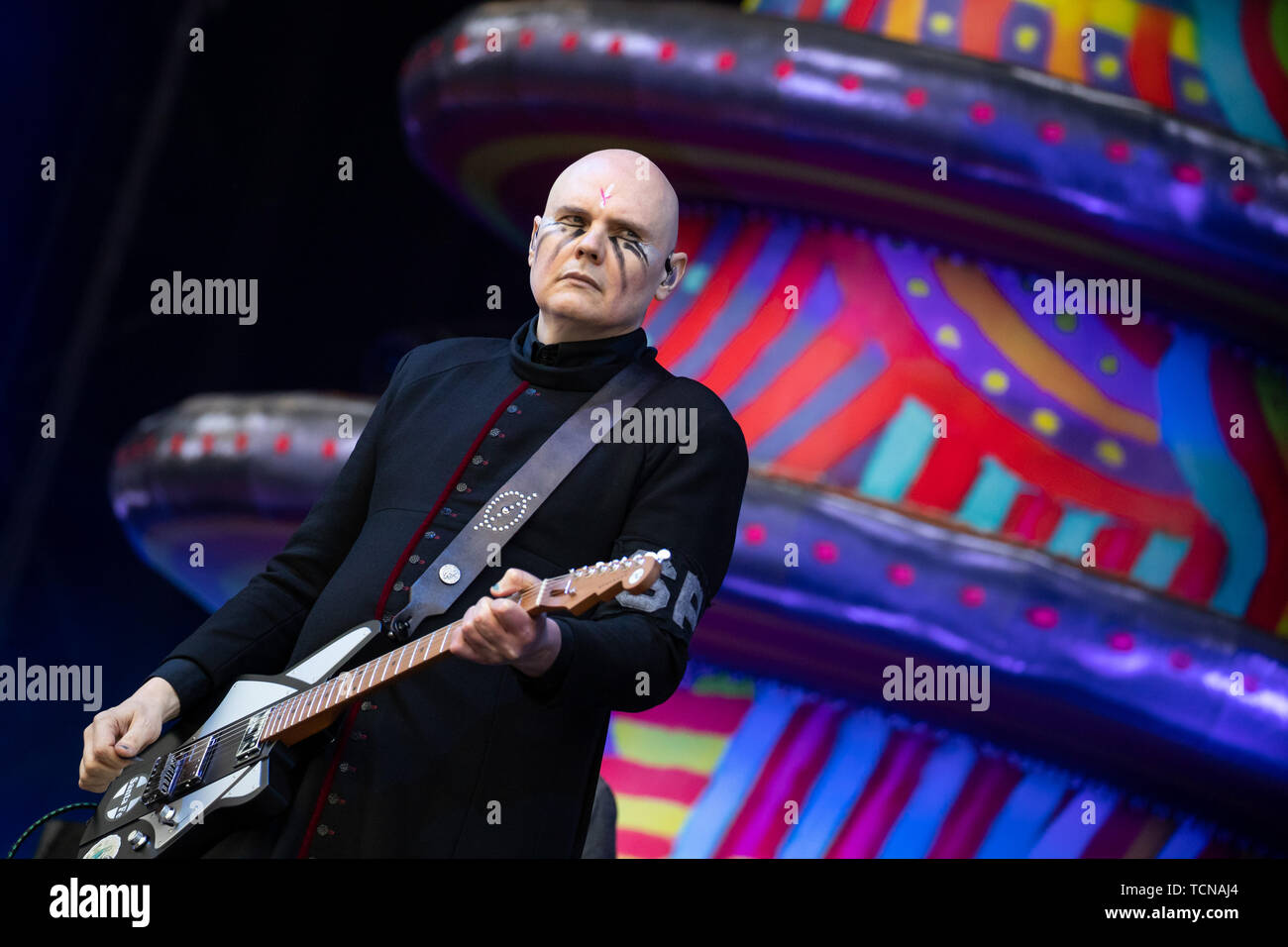 Nuremberg, Germany. 09th June, 2019. Billy Corgan, frontman of the US-American alternative rock band The Smashing Pumpkins, is on stage at the open-air festival 'Rock im Park'. From 7 to 9 June, the festival had a total of around 75 music acts on its programme and around 70,000 guests were expected. Credit: Daniel Karmann/dpa/Alamy Live News - Stock Image