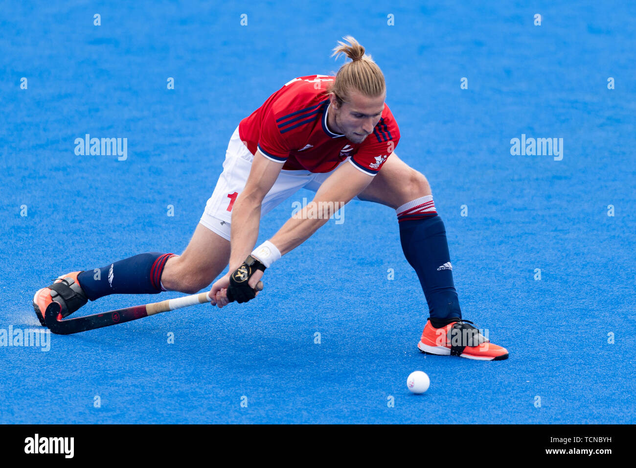London, UK. 09th Jun, 2019. CREED Brendan of Great Britain during FIH Pro League match between Great Britain vs Australia (Men) at Lee Valley Hockey and Tennis Centre on Sunday, June 09, 2019 in  London England. (Editorial use only, license required for commercial use. No use in betting, games or a single club/league/player publications.) Credit: Taka G Wu/Alamy Live News - Stock Image