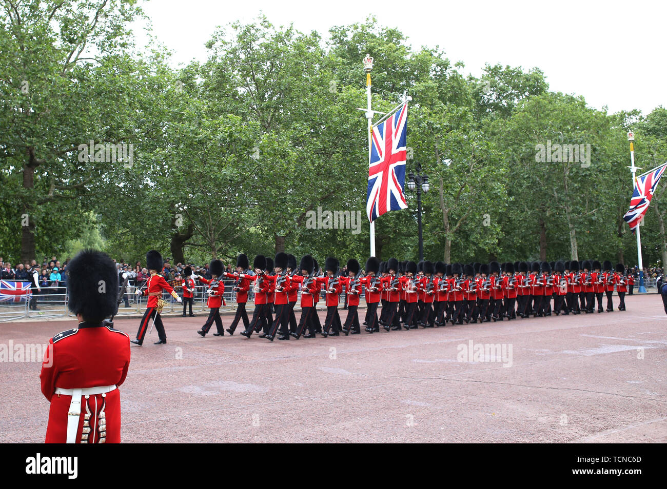 Scots Guards make their way up The Mall at the Trooping of