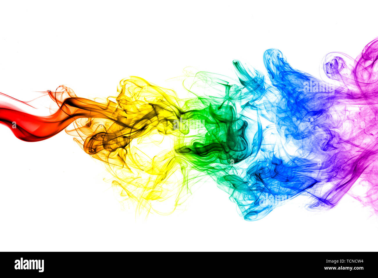 Abstract smoke wave, colorful mystical background - Stock Image