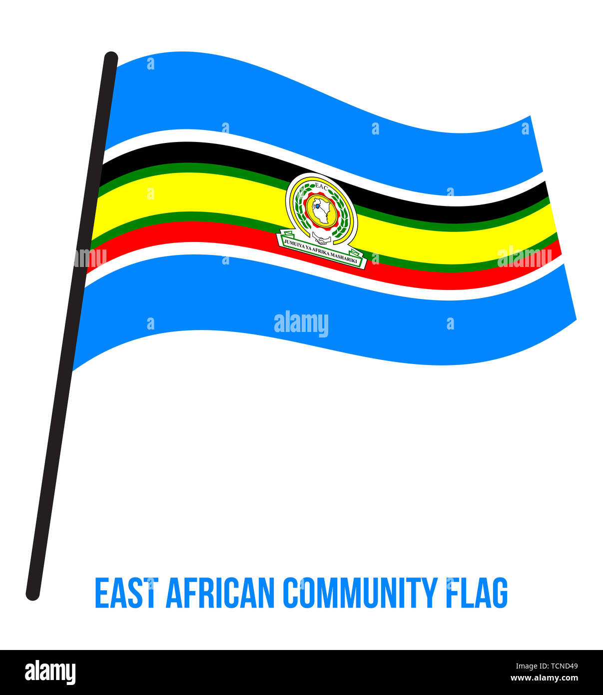 East African Community Flag Waving Vector Illustration on White Background. Stock Photo