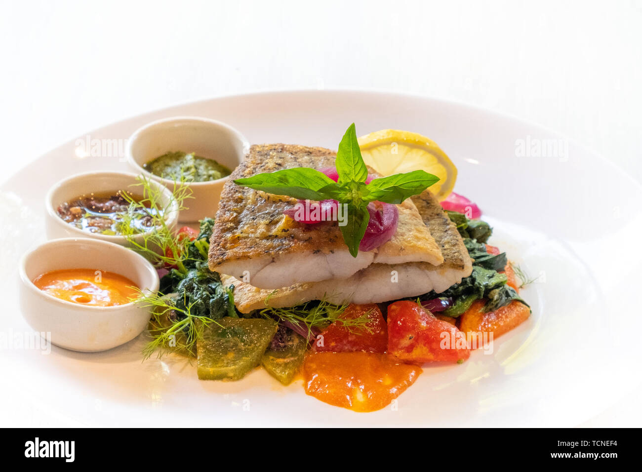 close up of grilled pan seared sea bass snapper fillet with vegetable and italian sauces , spicy, mayo,pesto, olives isolated on white plate natural b Stock Photo