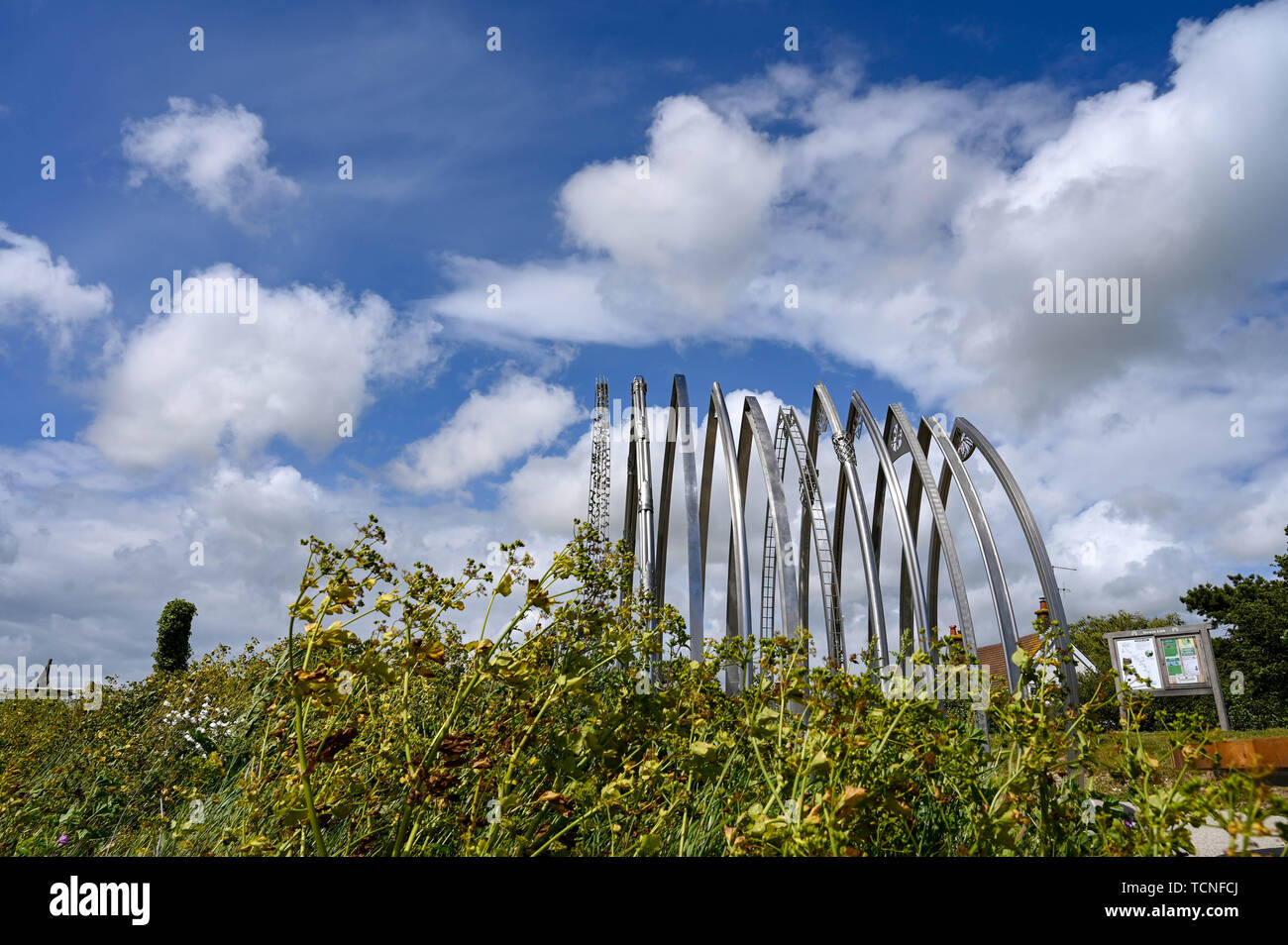 Memorial artwork dedicated to the eleven victims of the Shoreham Airshow disaster by Sussex artists Jane Fordham and David Parfitt UK - Stock Image