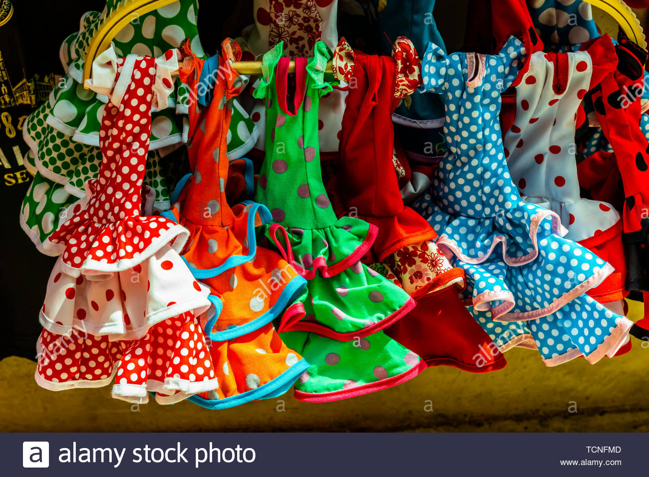 Flamenco doll costumes, Seville, Andalusia, Spain. - Stock Image