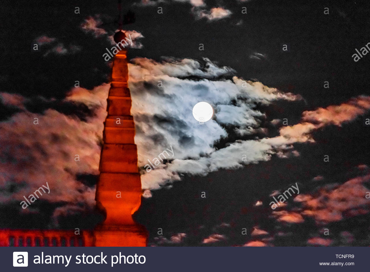 Full moon on Good Friday of Holy Week (Semana Santa), Seville, Andalusia, Spain. - Stock Image