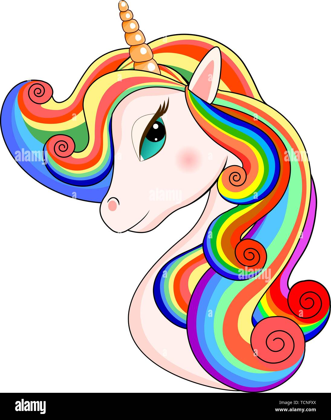 Head of a unicorn with a multi-colored mane on a white background. - Stock Vector