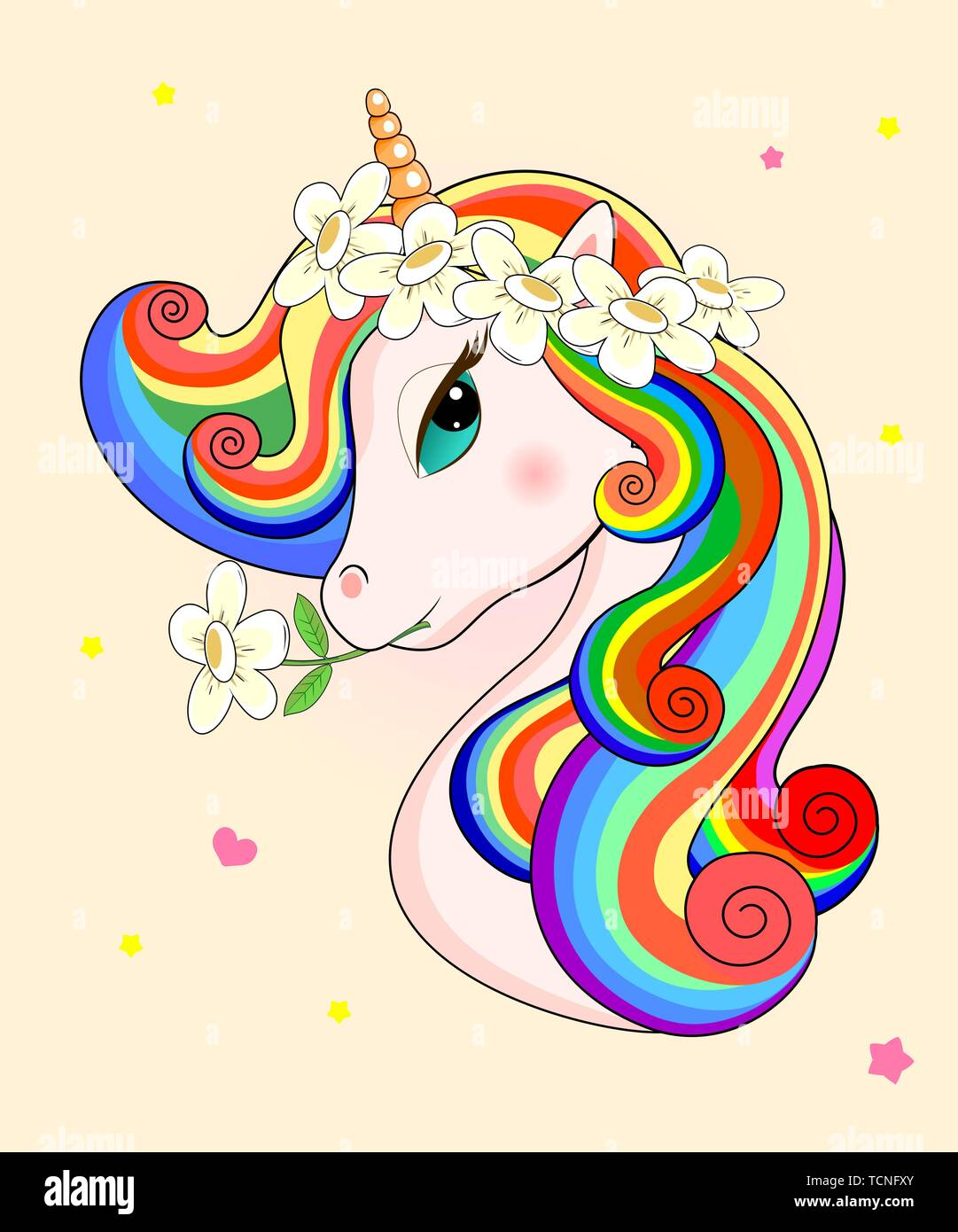 Beautiful unicorn with flowers on his head on a beige background. Head of a unicorn with a multi-colored mane. - Stock Vector