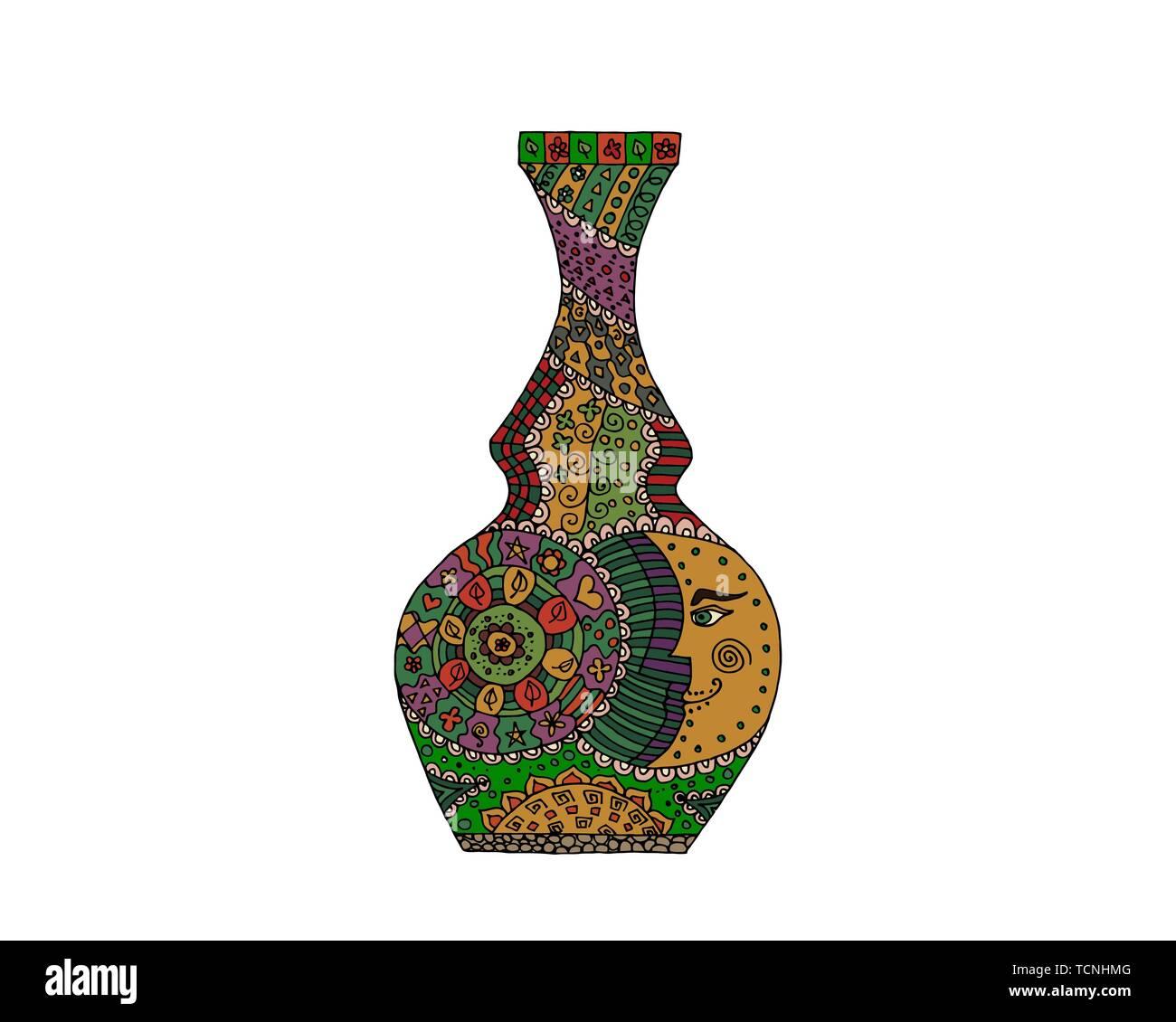 Doodle Vase Vector Illustration Handmade Pattern Vintage
