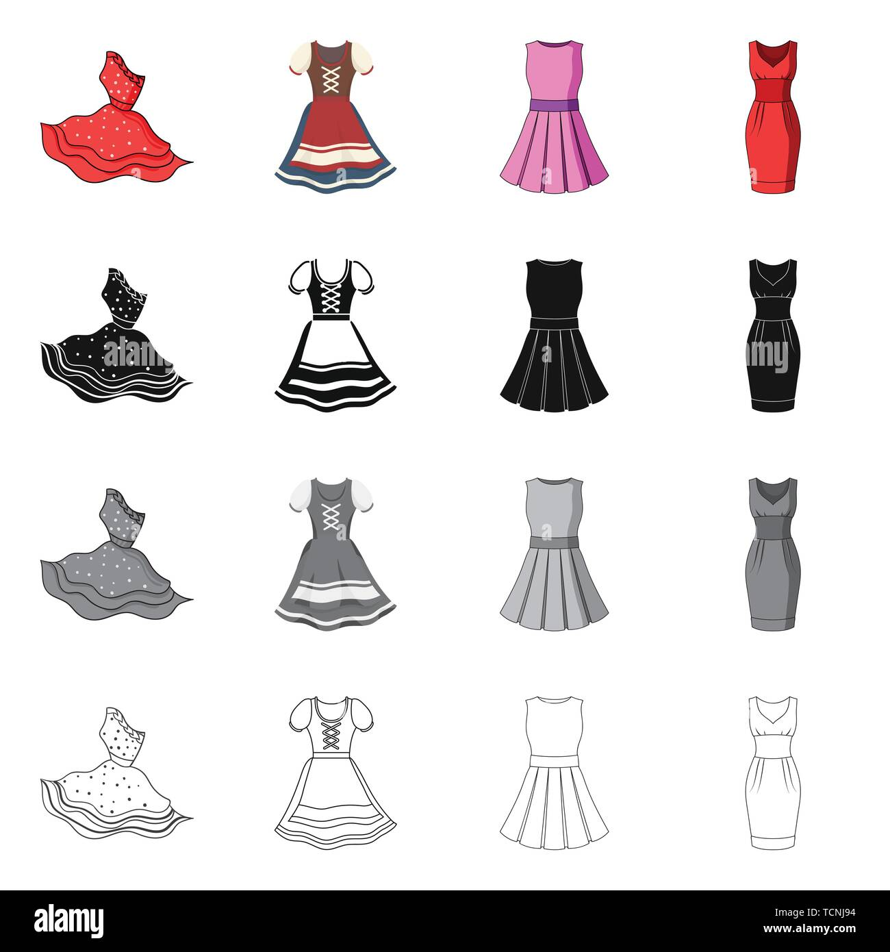 Isolated object of dress and clothes sign. Collection of dress and evening stock vector illustration. - Stock Vector