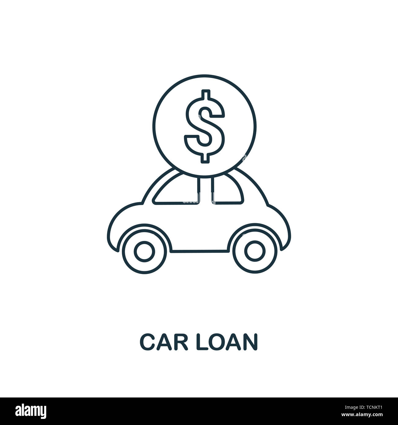 Car Loan outline icon. Thin line style icons from personal finance icon collection. Web design, apps, software and printing usage simple car loan icon Stock Photo