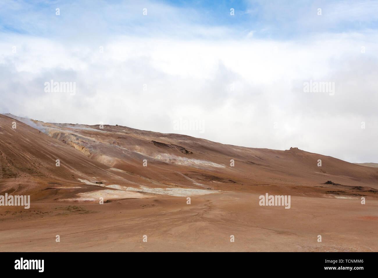 Hverir mud pools view, Iceland landmark. Icelandic landscape - Stock Image