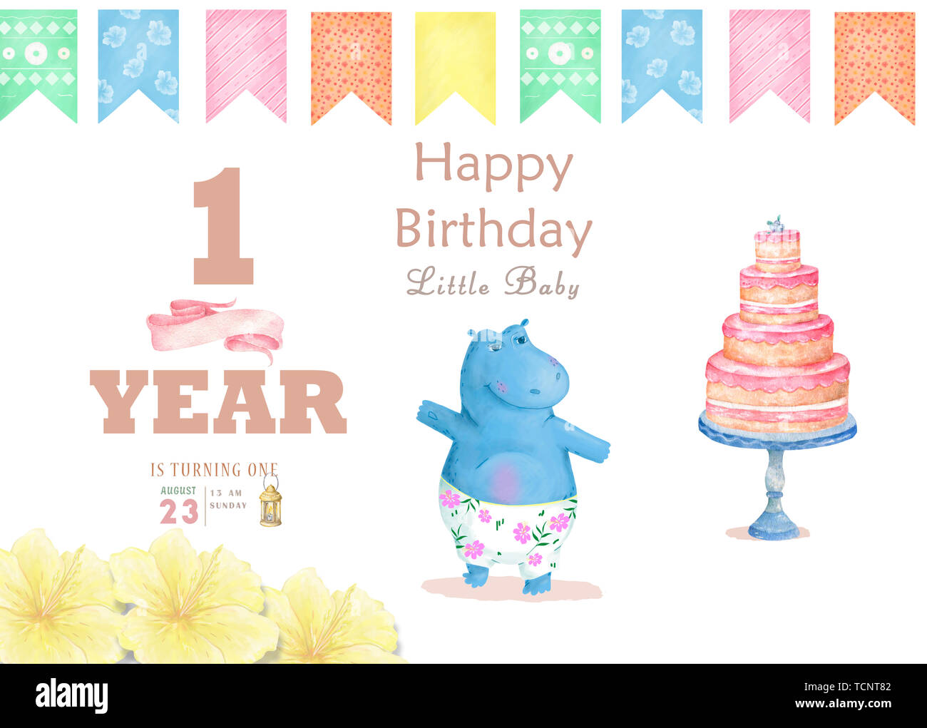 Birthday Card With Cartoon Funny Hippopotamus Colorful Illustration Watercolor Animal For Greeting Invite Celebration Zoo Beauty Cocktail Stock Photo Alamy