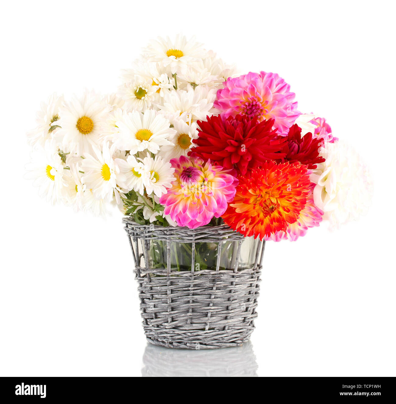 daisies and dahilas in vase isolated on white - Stock Image