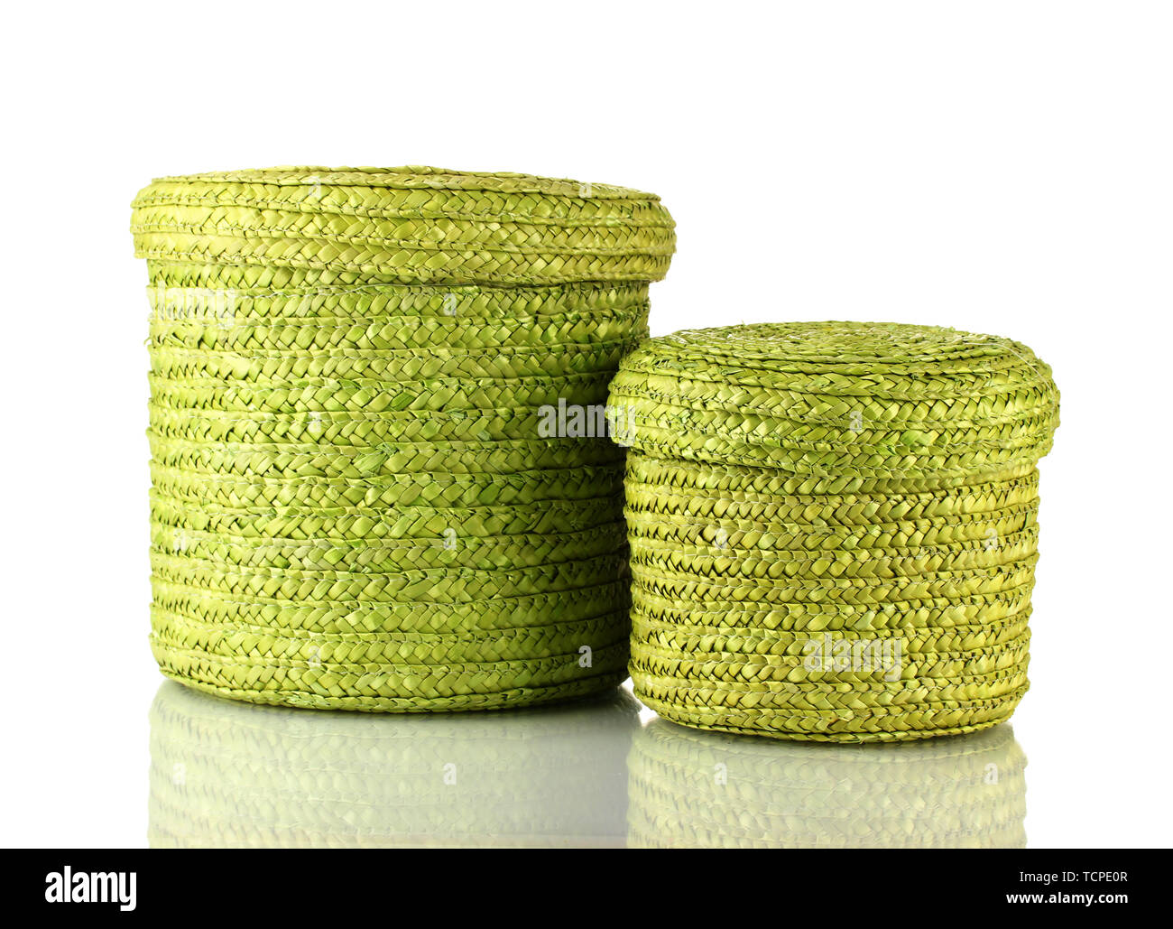 Wicker color boxes isolated on white - Stock Image