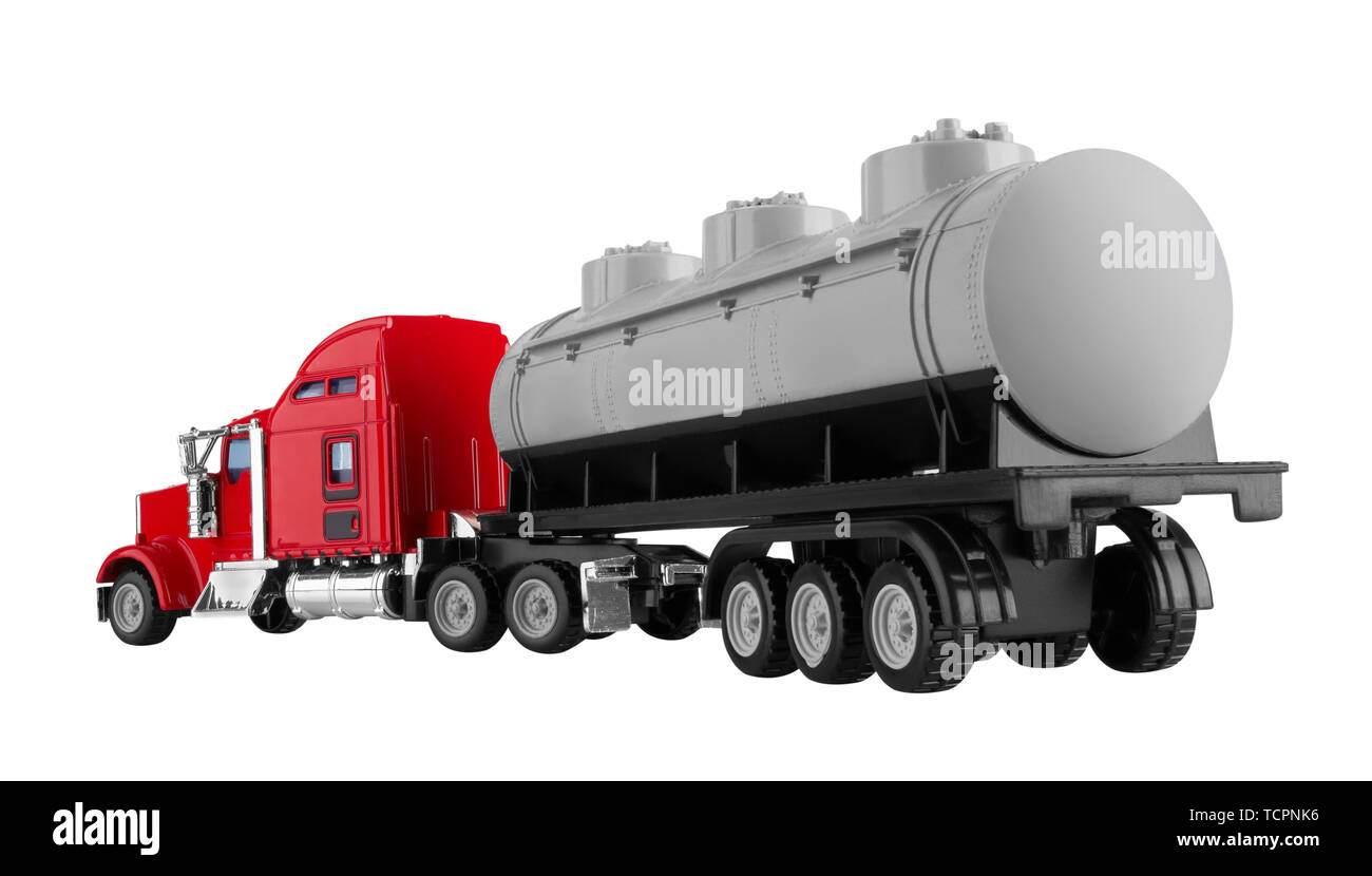 Truck with tank isolated on white background. Model. - Stock Image