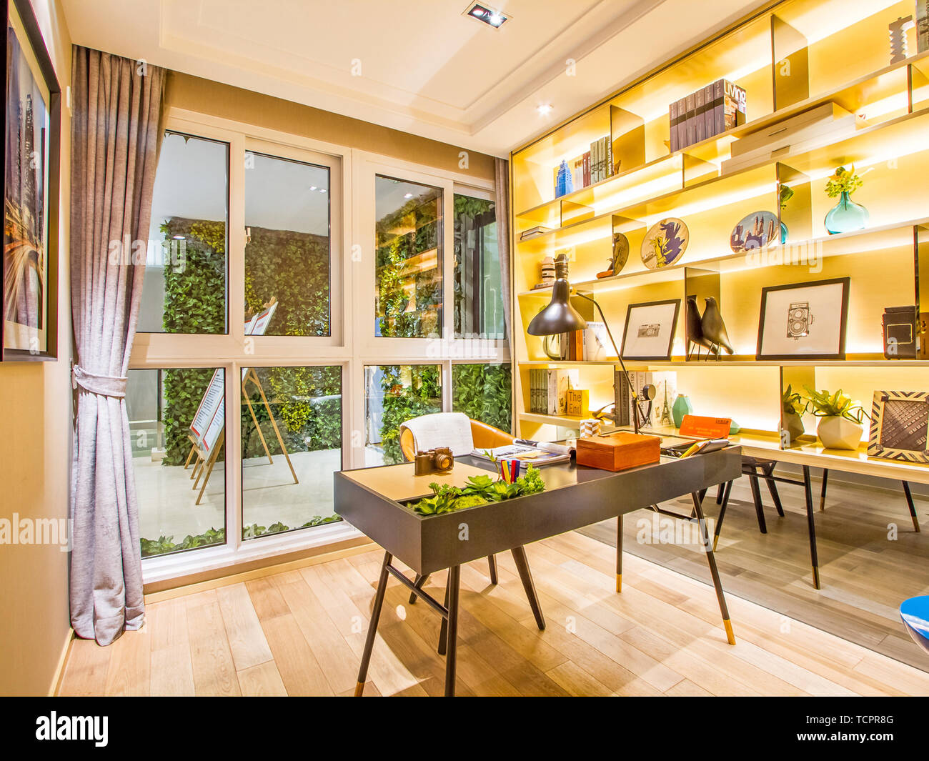Study Bedroom Interior Interior Design Decoration Luxury Background Interior Decoration Glass Desk Calligraphy Computer Desk Office Office Space Sitting Area Lounge Room Environment Reading Reading Newspapers Stock Photo Alamy