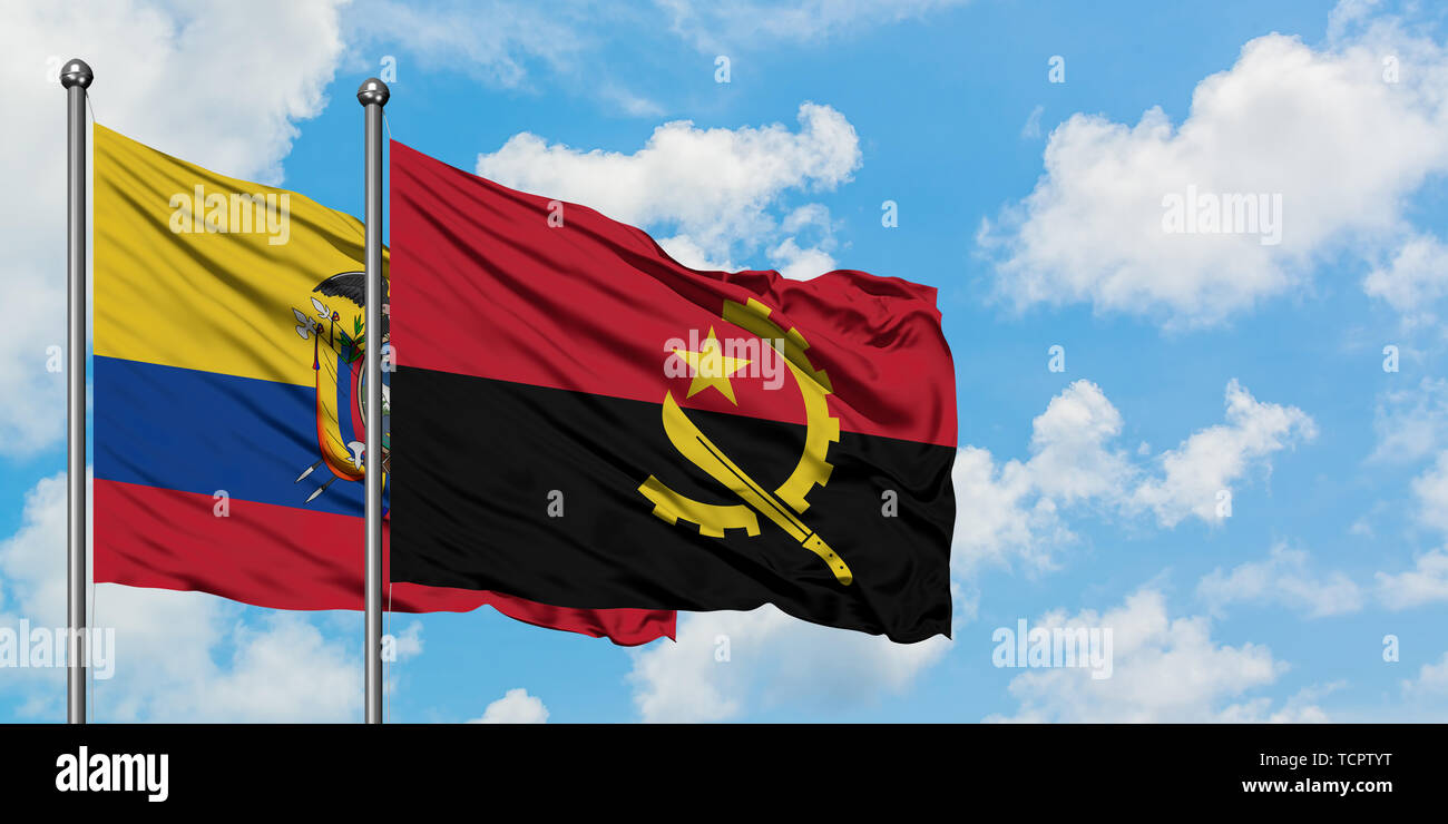 Ecuador and Angola flag waving in the wind against white cloudy blue sky together. Diplomacy concept, international relations. - Stock Image