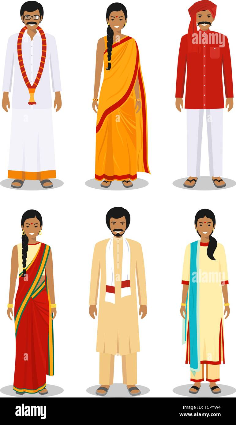 95035bf0f Set of different standing indian young adult women and men in the  traditional clothing isolated on
