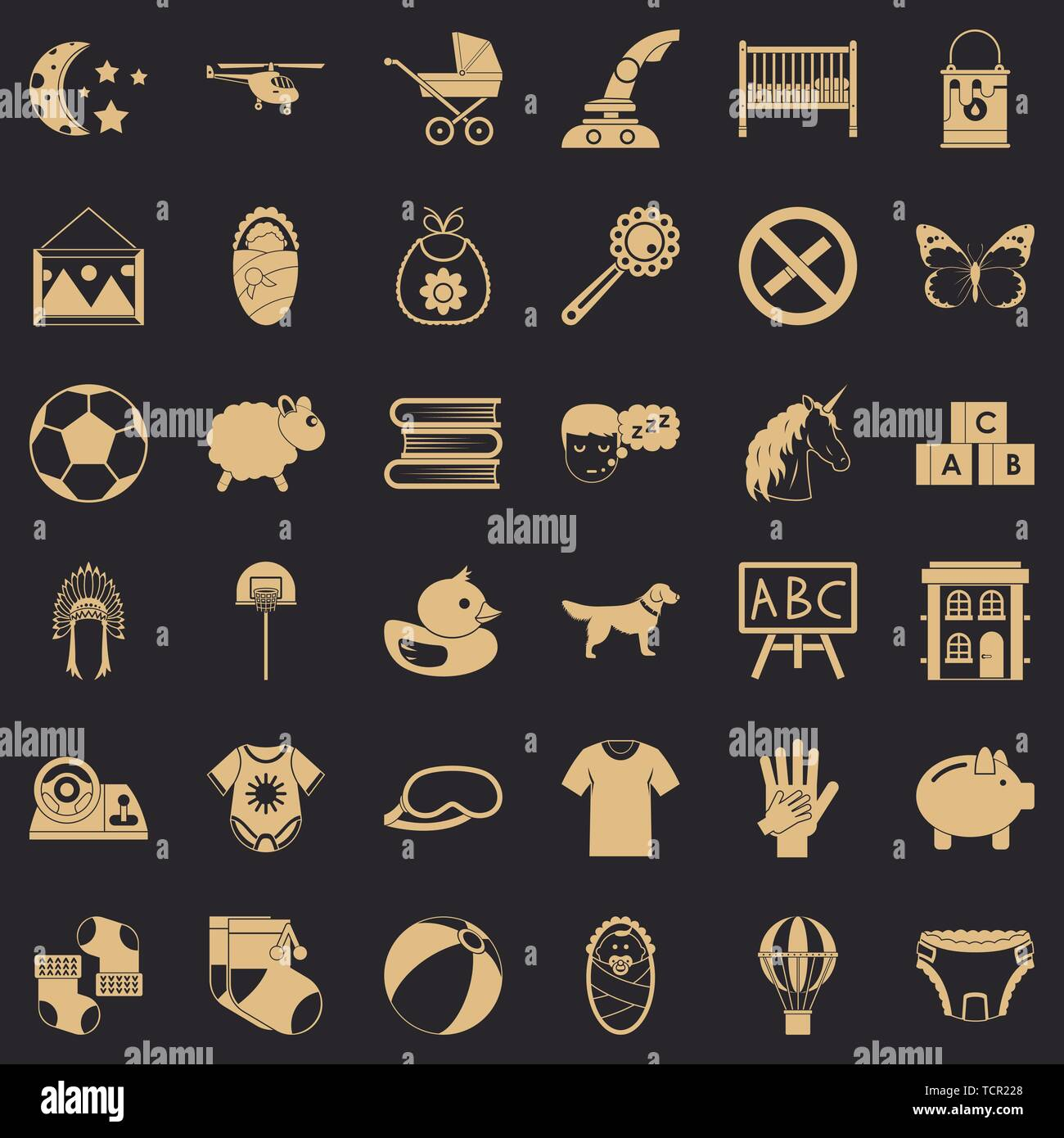 Minor icons set, simple style - Stock Image