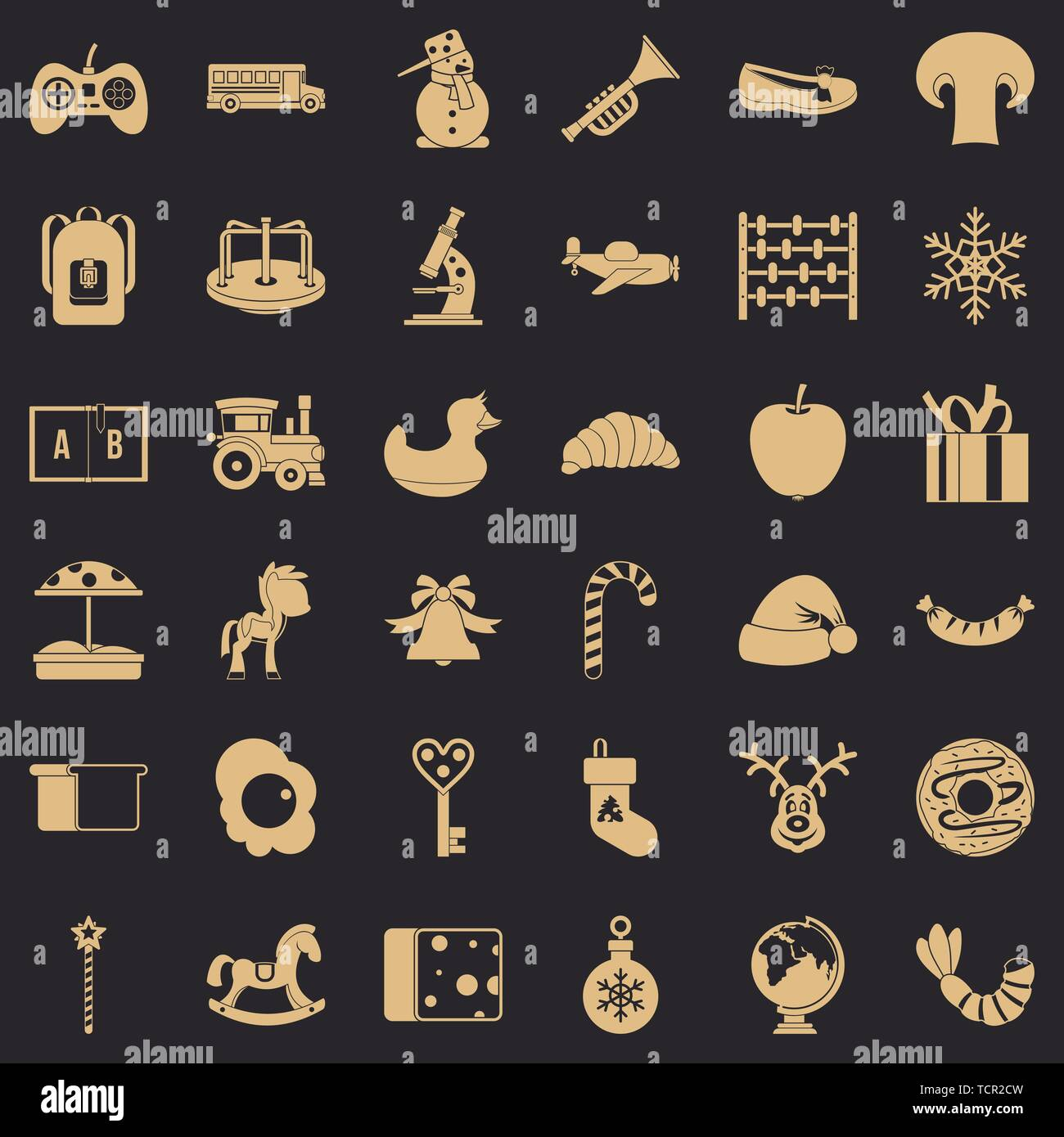 Infant school icons set, simple style - Stock Image