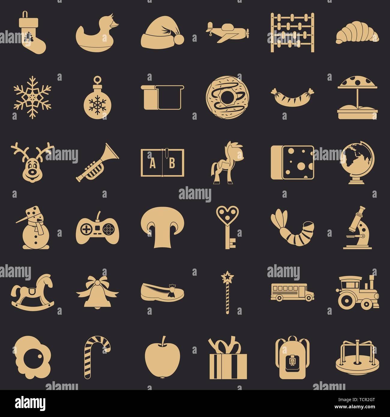 Kindergarten icons set, simple style - Stock Image