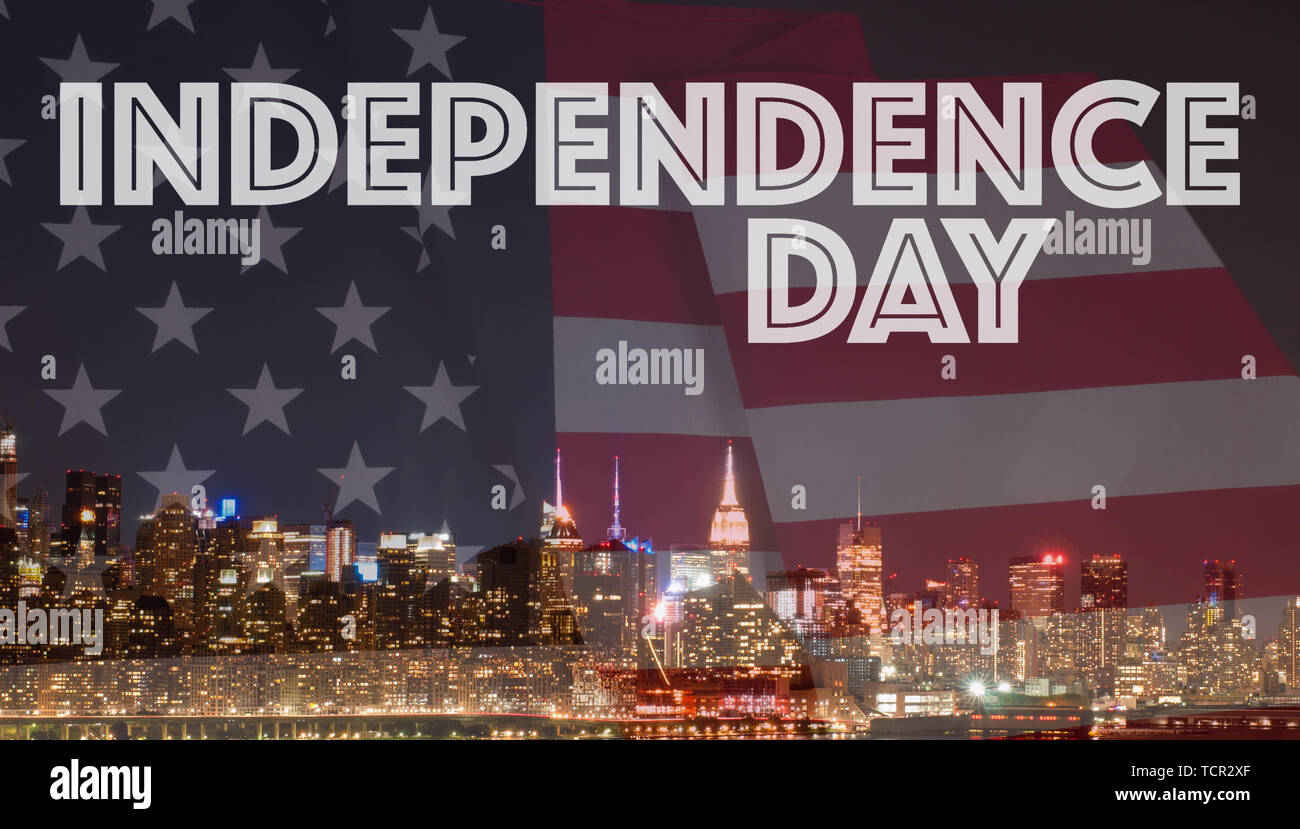 New York City at night and American flag. Manhattan skyline with US flag. 4th July Independence day holiday United States Stock Photo