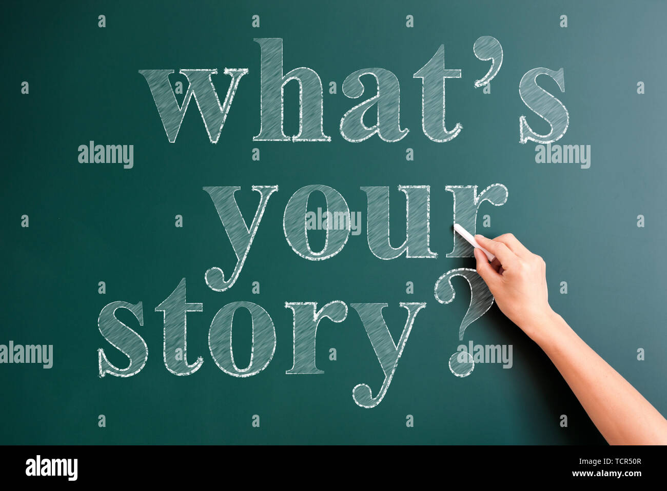 what's your story written on blackboard - Stock Image