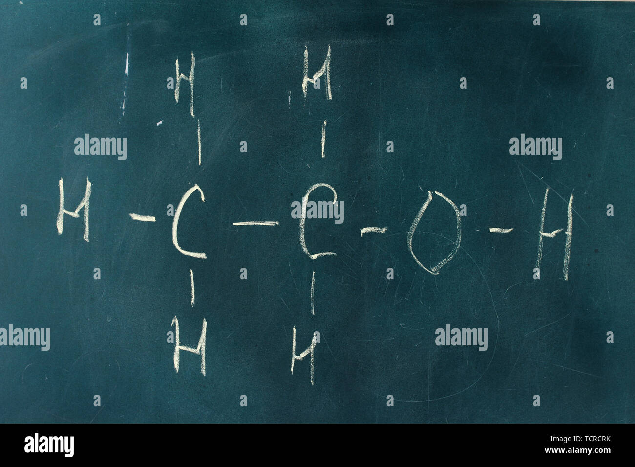 Chemical structure formula written on blackboard with chalk Stock ...