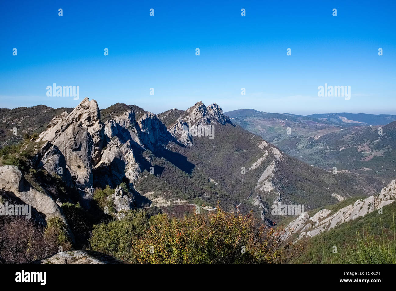 Landscape of Dolomites of Basilicata mountains called Dolomiti Lucane. Basilicata region, Italy - Stock Image