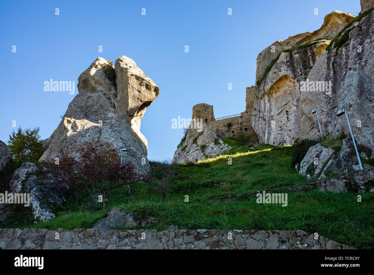Ruins of Pietrapertosa castle. Dolomites of Basilicata mountains called Dolomiti Lucane. Basilicata region, Italy - Stock Image