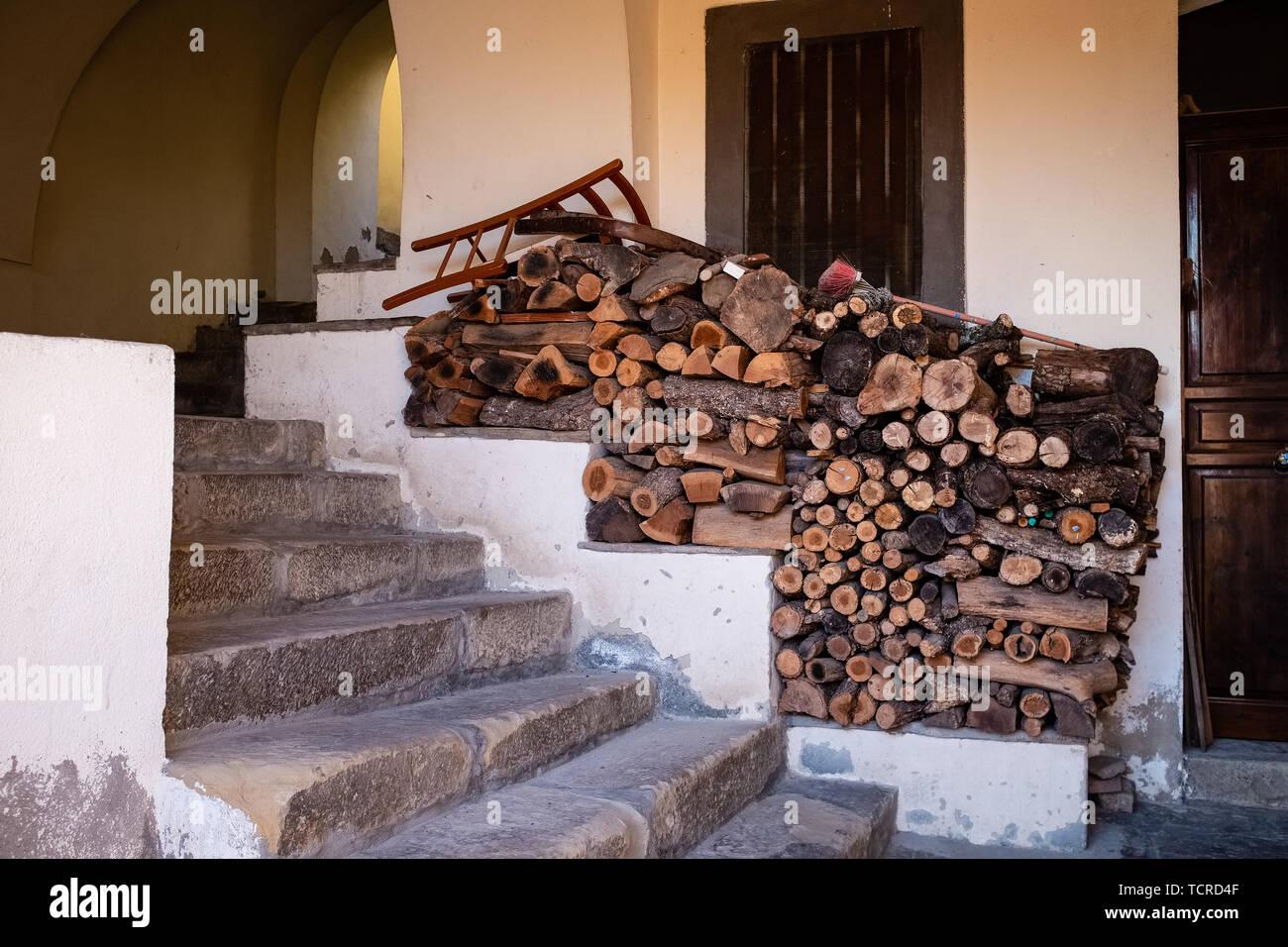 Wood pile. Ancient village of Castelmezzano. Basilicata region, Italy Stock Photo