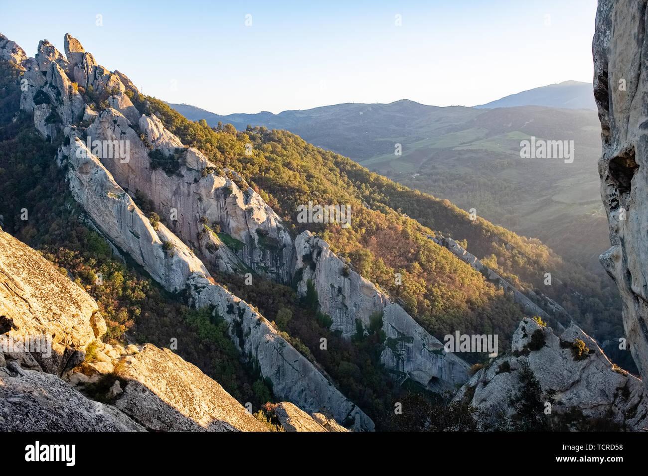 Sunset landscape of Dolomites of Basilicata mountains called Dolomiti Lucane. Basilicata region, Italy Stock Photo