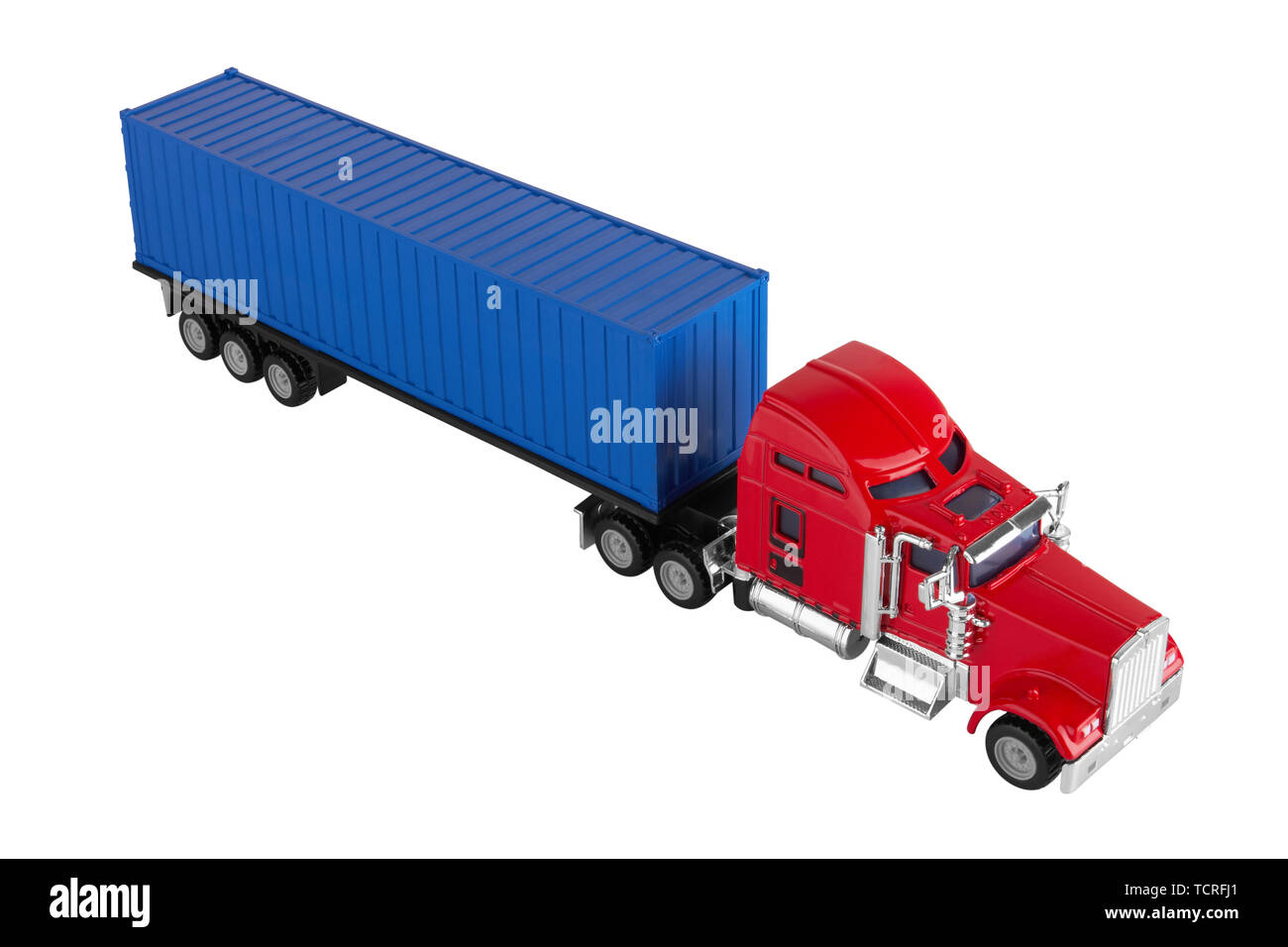 Truck with cargo container isolated on white background. Model. - Stock Image