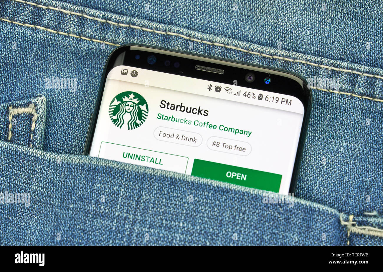MONTREAL, CANADA - December 23, 2018: Starbucks android app