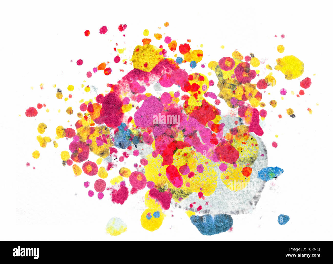 Splatter paint isolated on white background made with punchy magenta,red, yellow and cyan colours - Stock Image