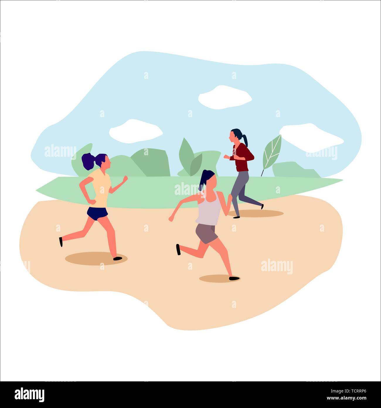 Active people running in the park. Vector. - Stock Vector