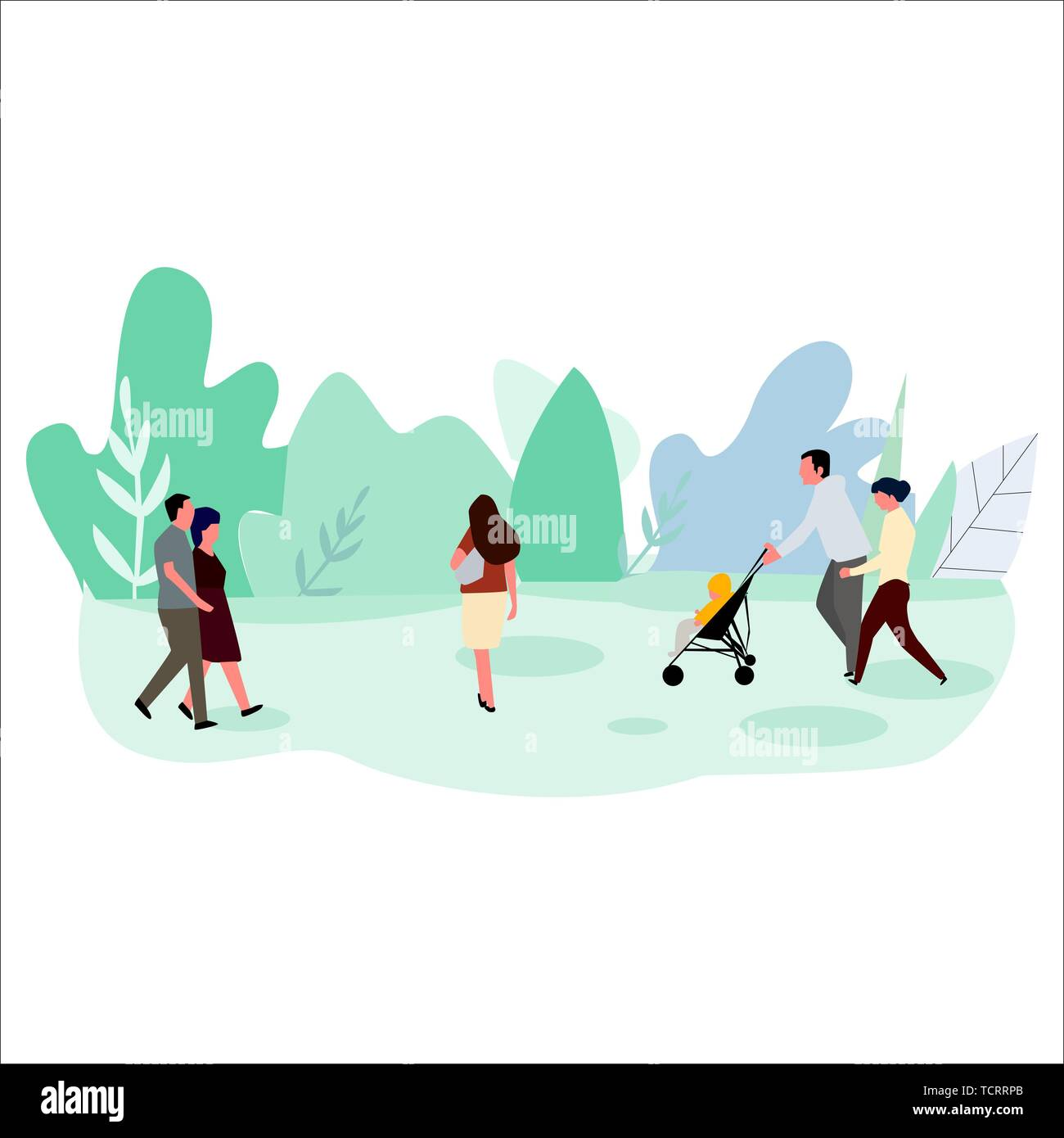 Concept of people walking in the park. Vector. - Stock Vector