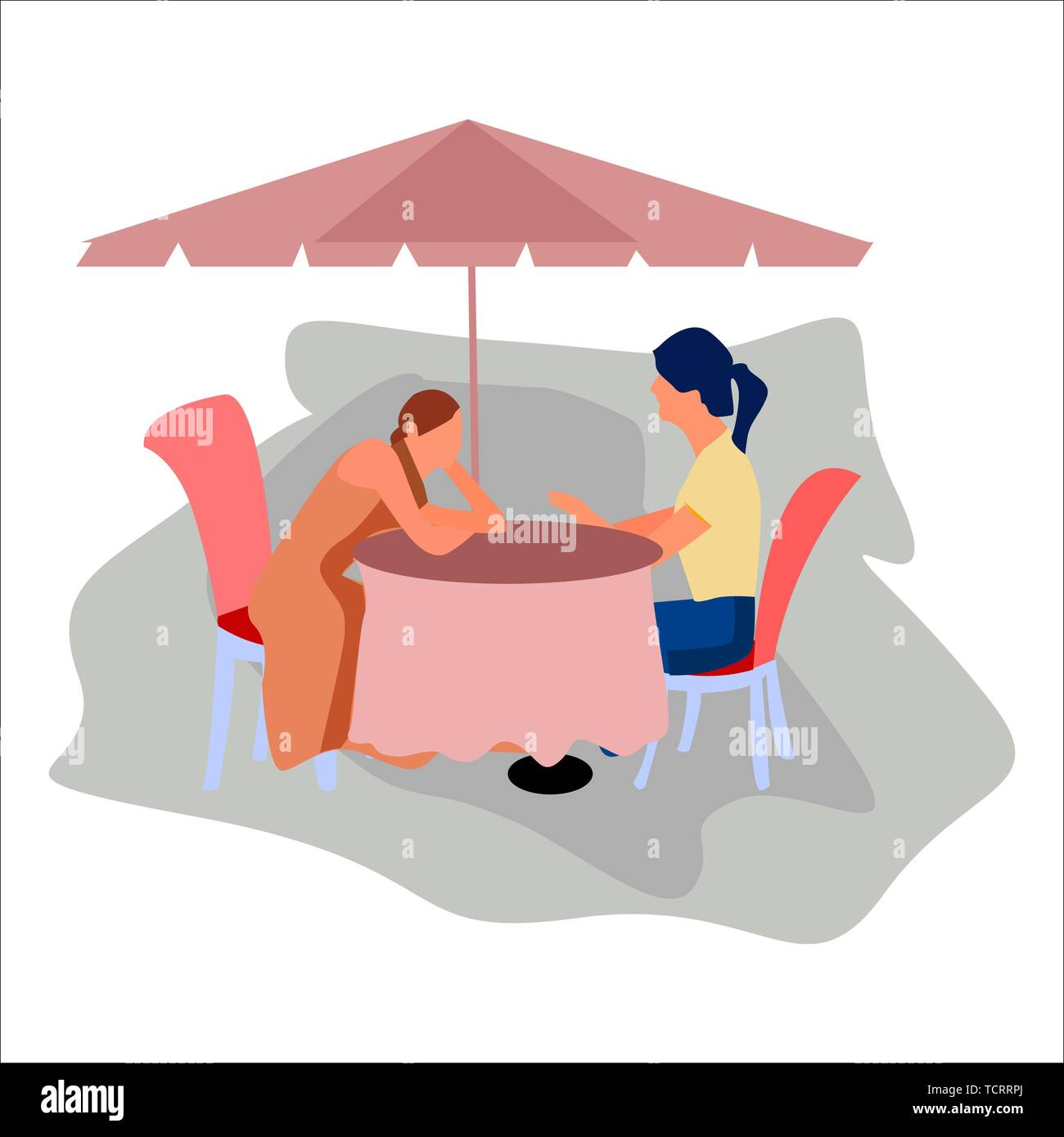 Two girls sitting in the cafe. Vector. Stock Vector