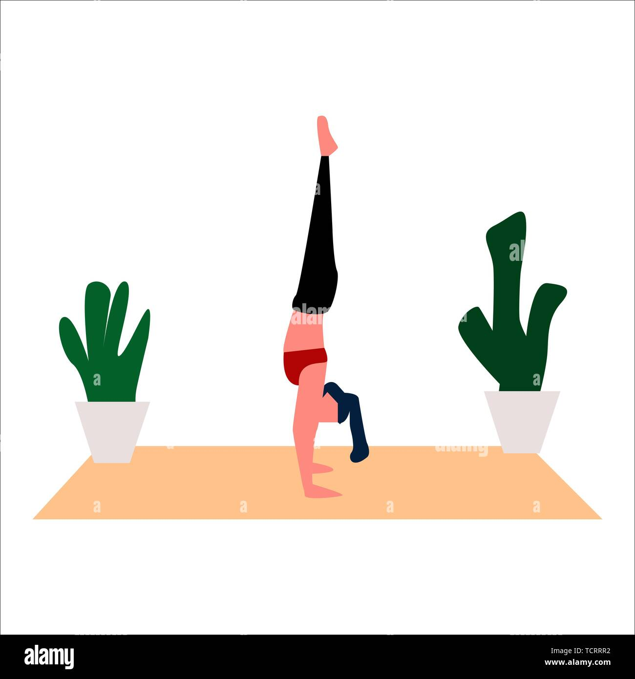 A girl in aerobics at home. Vector. - Stock Image