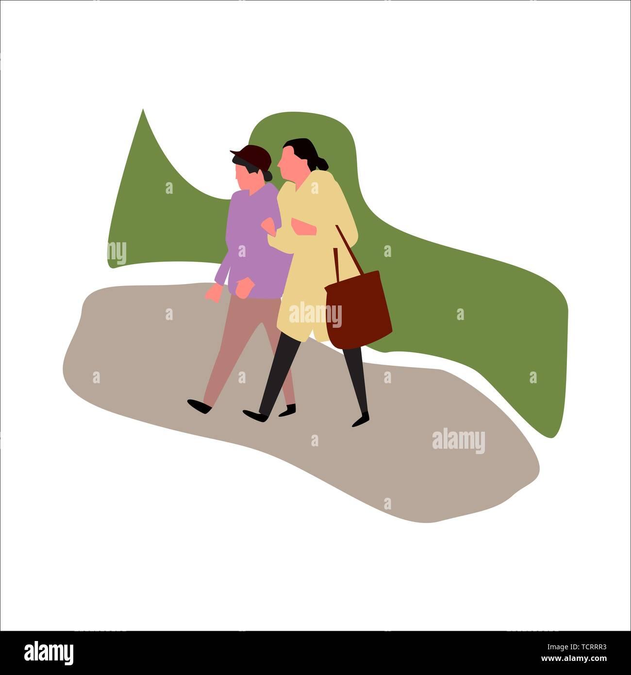 Two women walking in park. Vector. - Stock Vector