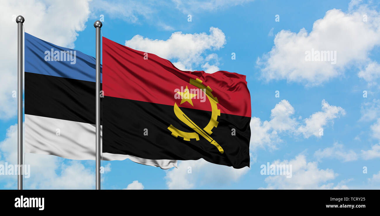 Estonia and Angola flag waving in the wind against white cloudy blue sky together. Diplomacy concept, international relations. - Stock Image
