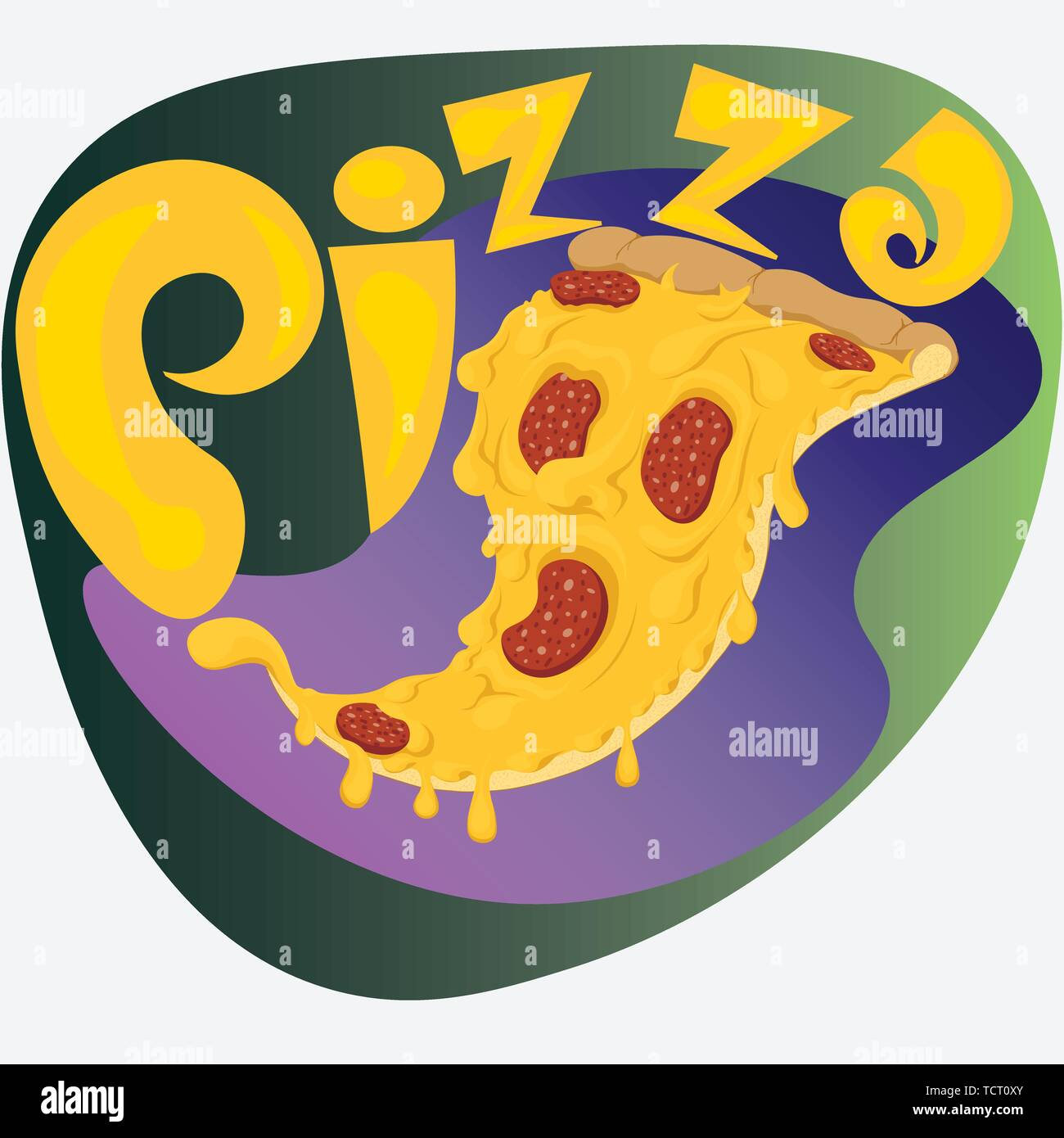 hand drawn pizza logo or sticker with the inscription Stock Vector