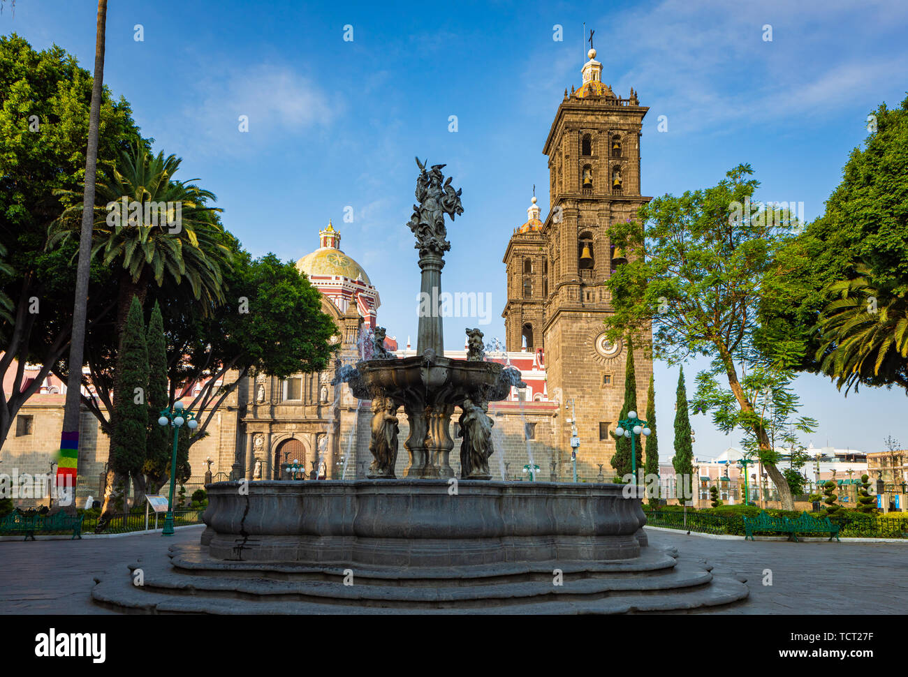Puebla Cathedral is a Roman Catholic church in the city of Puebla, in the state of Puebla, Mexico. It is a colonial cathedral, and is the seat of the  - Stock Image