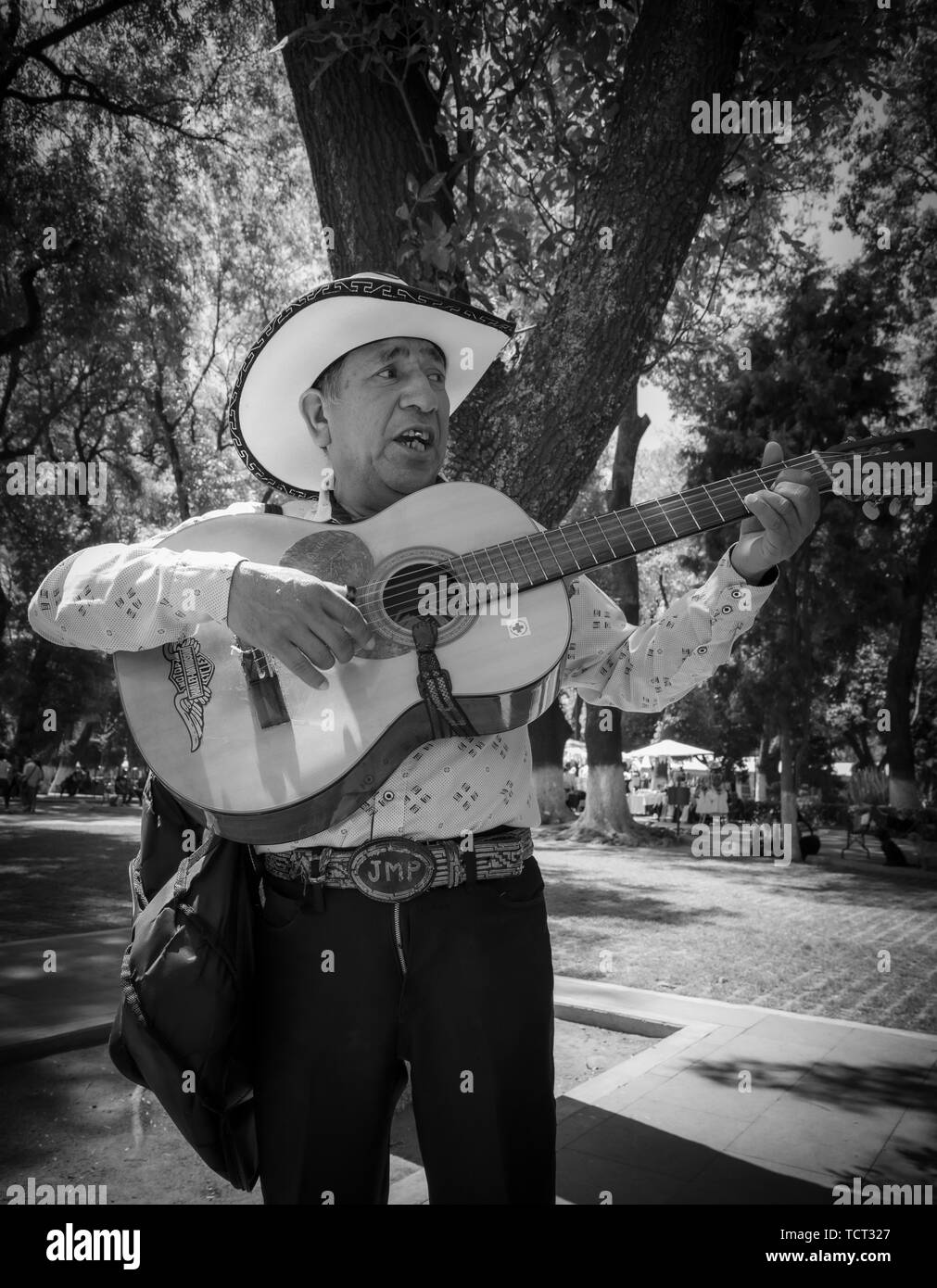 Street performer in Cholula, Mexico. --- Cholula is a city and district located in the center west of the state of Puebla, near Puebla City, in centra - Stock Image