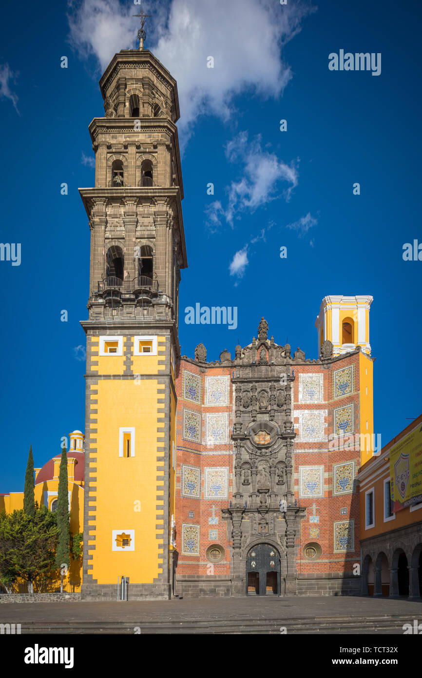 Templo de San Francisco de Asis is a Catholic temple that belongs to the ecclesiastical jurisdiction of the Archdiocese of Puebla, Mexico. Stock Photo